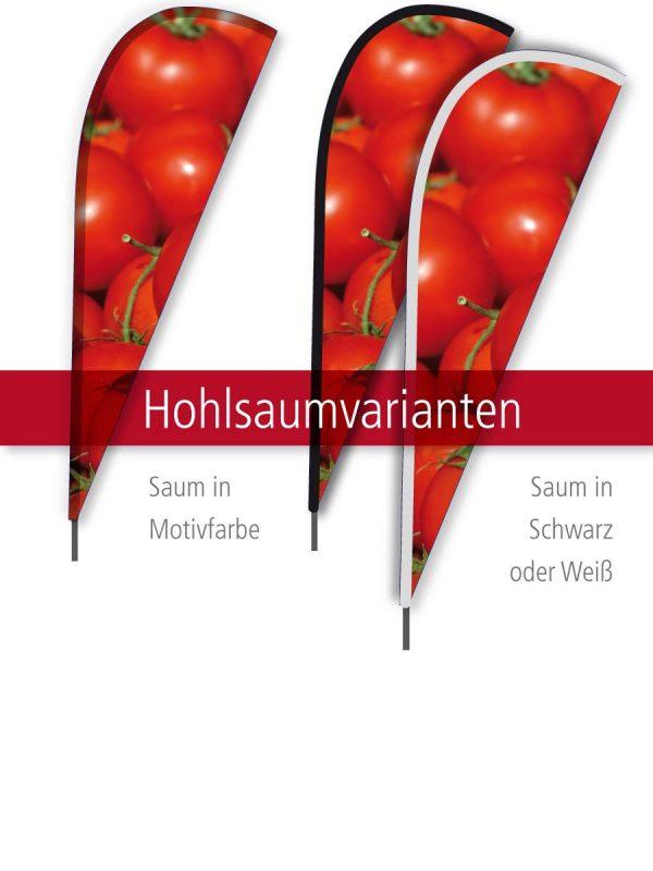 Beachflag Flügel - Hohlsaumvarianten