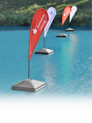 Schwimmende Beachflags für Sportveranstaltungen