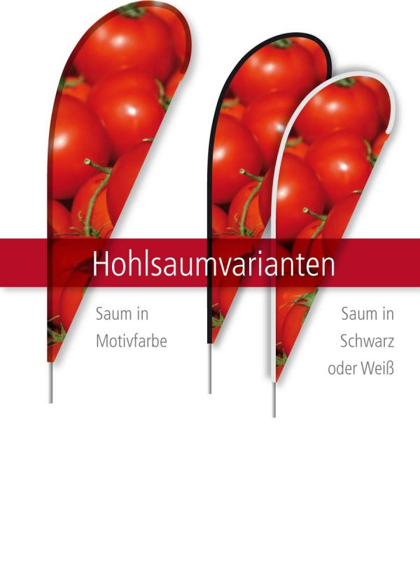 Beachflag Tropfen - Hohlsaumvarianten
