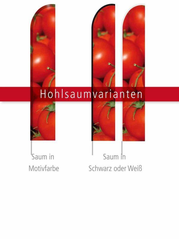 Beachflag Gerade - Hohlsaumvarianten