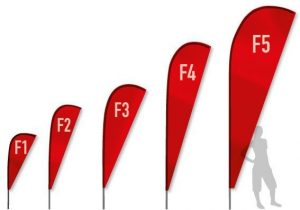 alle 5 Größen der Beachflag Flügelform