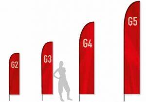 DIe vier Größen der Beachflag Geradeform