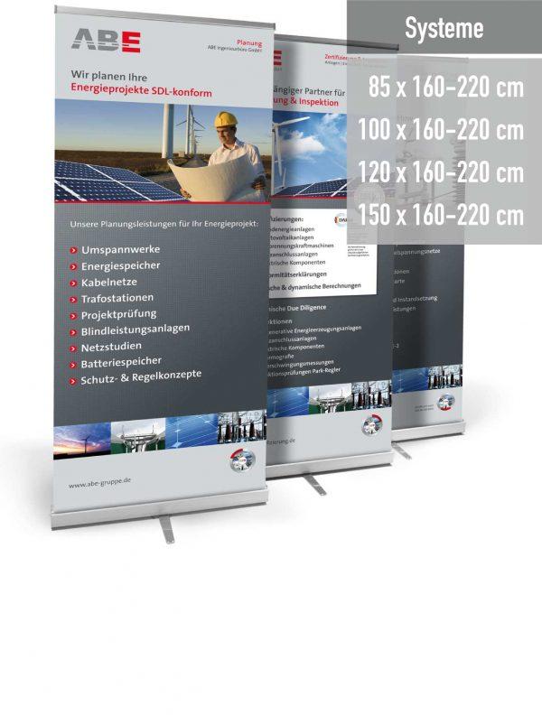 RollUp Display in 4 verschiedenen Breiten