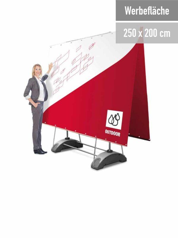Mobile Werbewand: Doppelseitige Auführung.