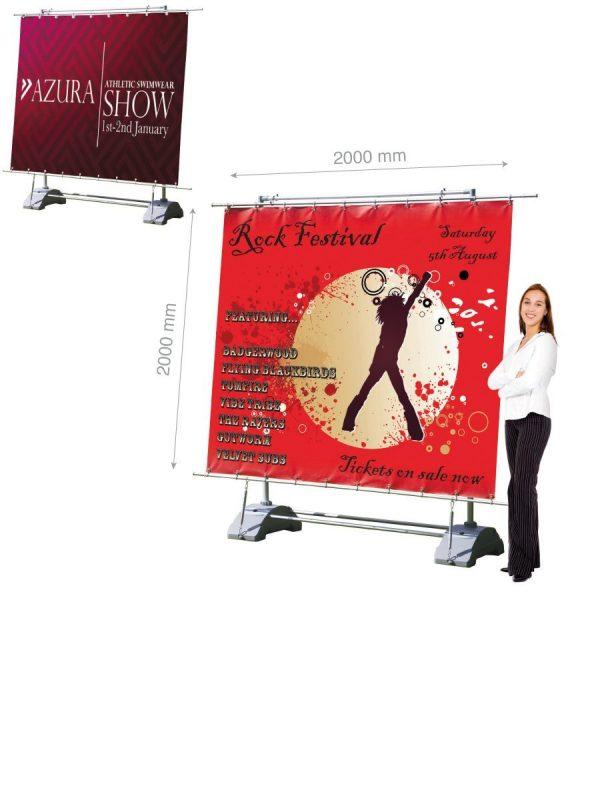 Mobile Werbewand: Einseitige Ausführung 2 x 2 m