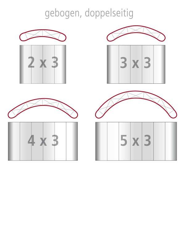 Die vier Größen der PopUp Faltwand gebogen, doppelseitig