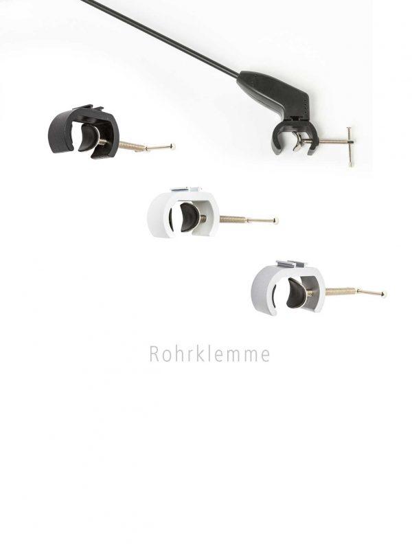 Rohrklemmen zum befestigen von LED- und Haligenstrahlern an verschiedenen Präsentationssystemen.