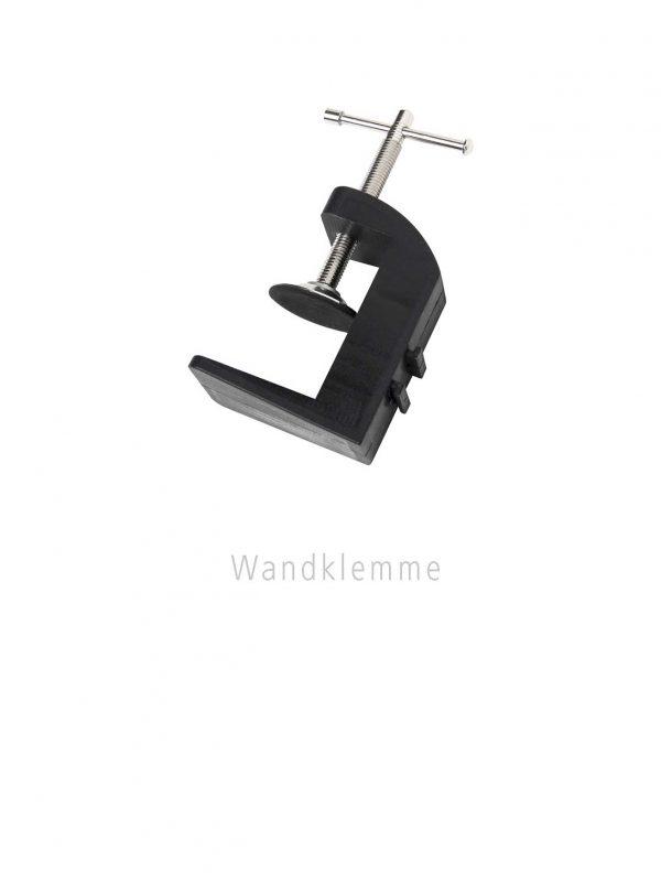 Wandklemme zum befestigen von LED- und Halogenspots an Präsentations- und Messesystemen mit Profilen bis max. 53 mm