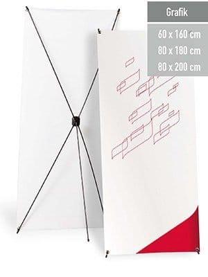 Ein X-Banner Display in drei Größen.