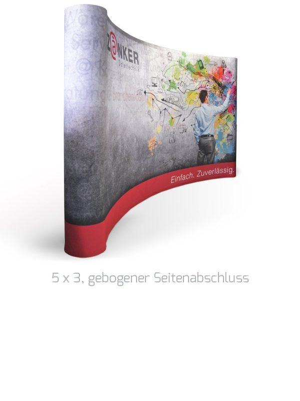 Textile Faltwand 4x3, mit gebogenem Seitenabschluss