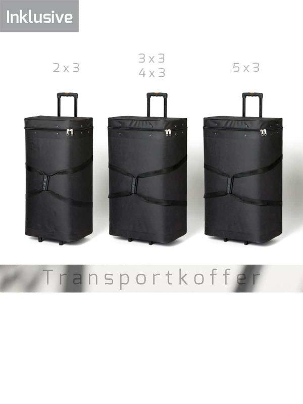 3 verschiedene Trolleys für textile Faltwände