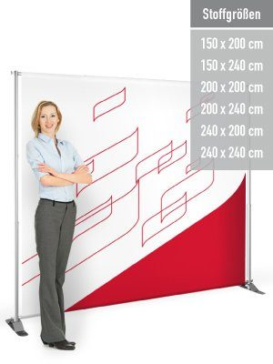 Eine variable Displaywand bis 2,40 x 2,40 m.