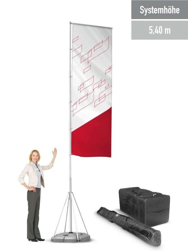 Mobiler Fahnenmast bis 5,40 m Systemhöhe.
