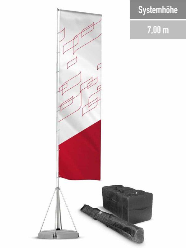 Mobile Fahnenmasten bis 7 m Systemhöhe.