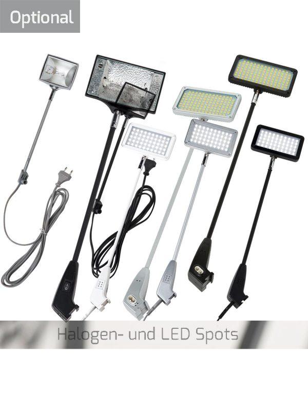 viele verschiedene LED- und Halogentrahler