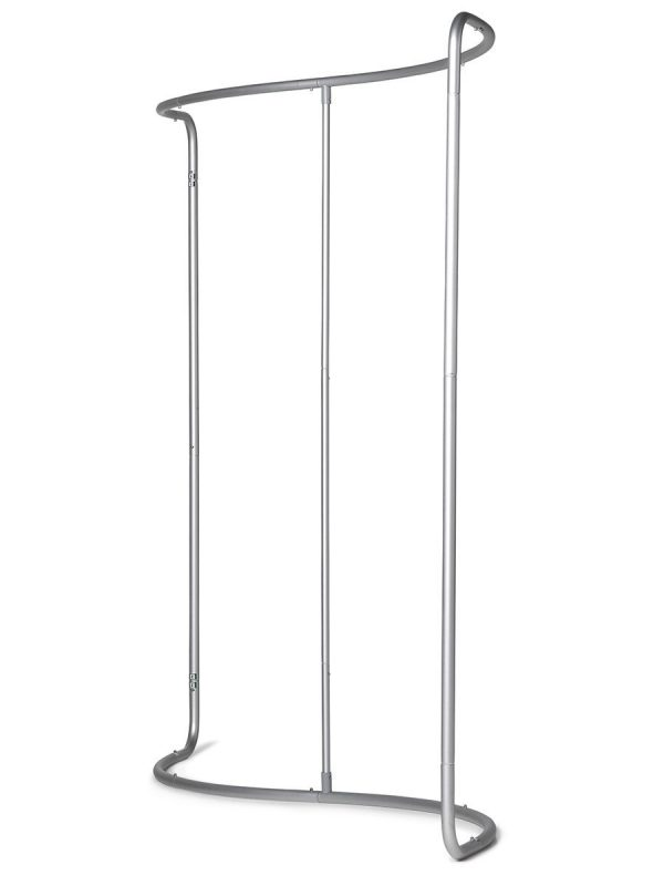 Das Rahmensystem besteht aus eloxiertem Aluminium d = 34 mm