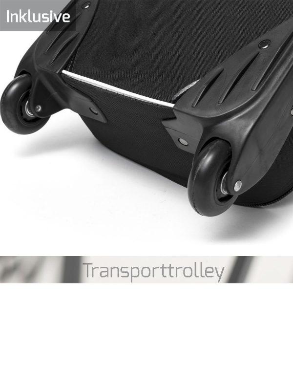 Gepolsterter Transportrolley zum langfristigen Einsatz auf Messen und Events.