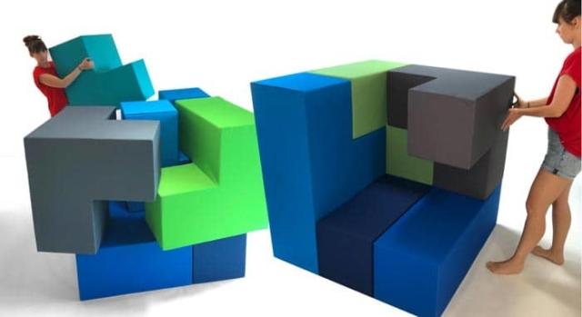 Großes dreidimensionales Tetris Spiel aus 8 Teilen